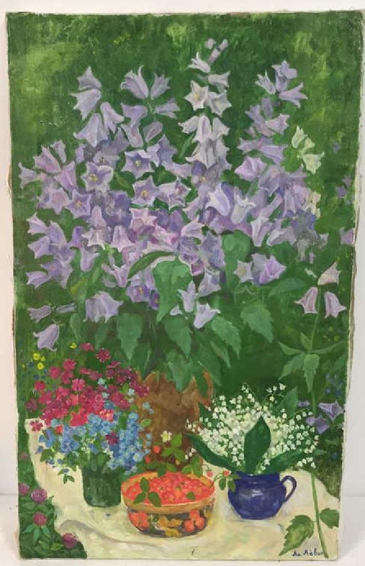 A.N. Levin Forest Flowers Painting Canvas 1993 - 2