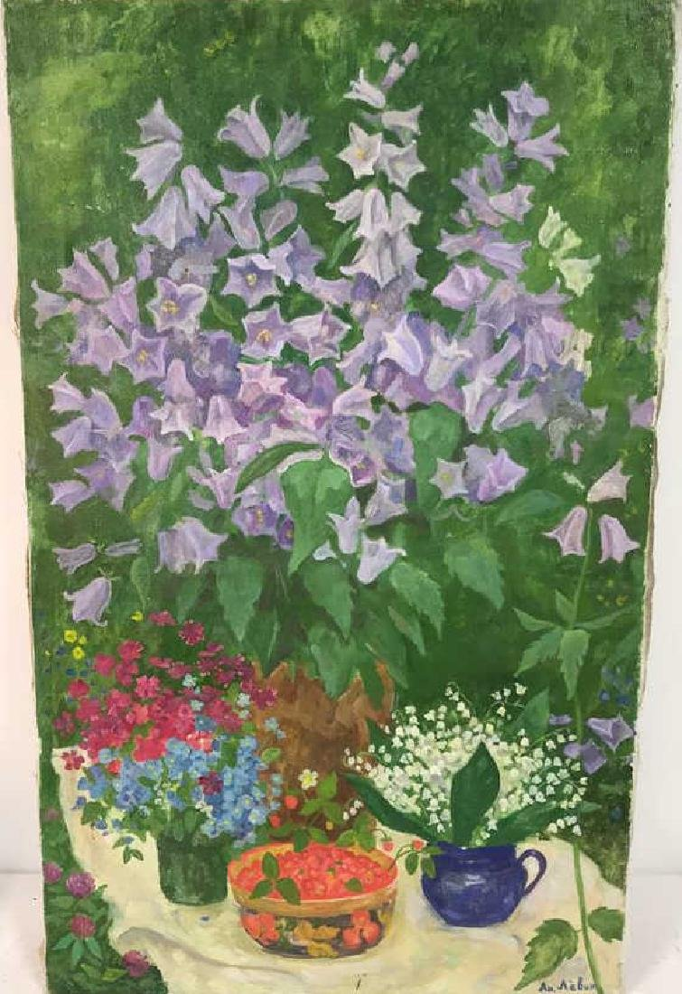 A.N. Levin Forest Flowers Painting Canvas 1993 - 3