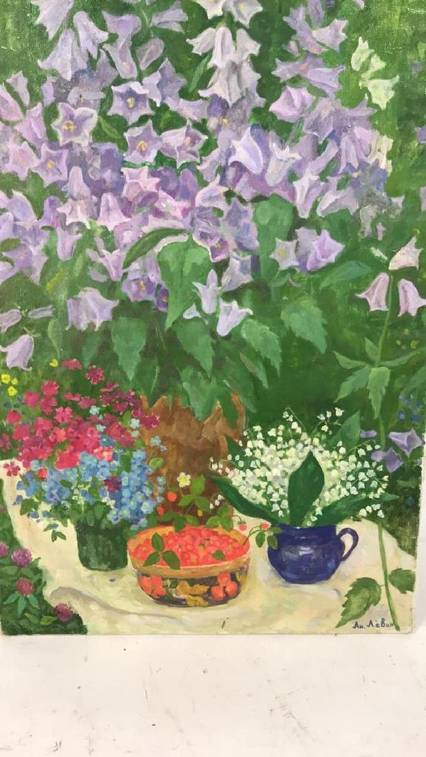 A.N. Levin Forest Flowers Painting Canvas 1993 - 4