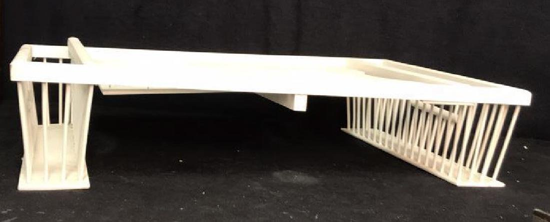 Vintage white painted Wood Bed Tray - 2