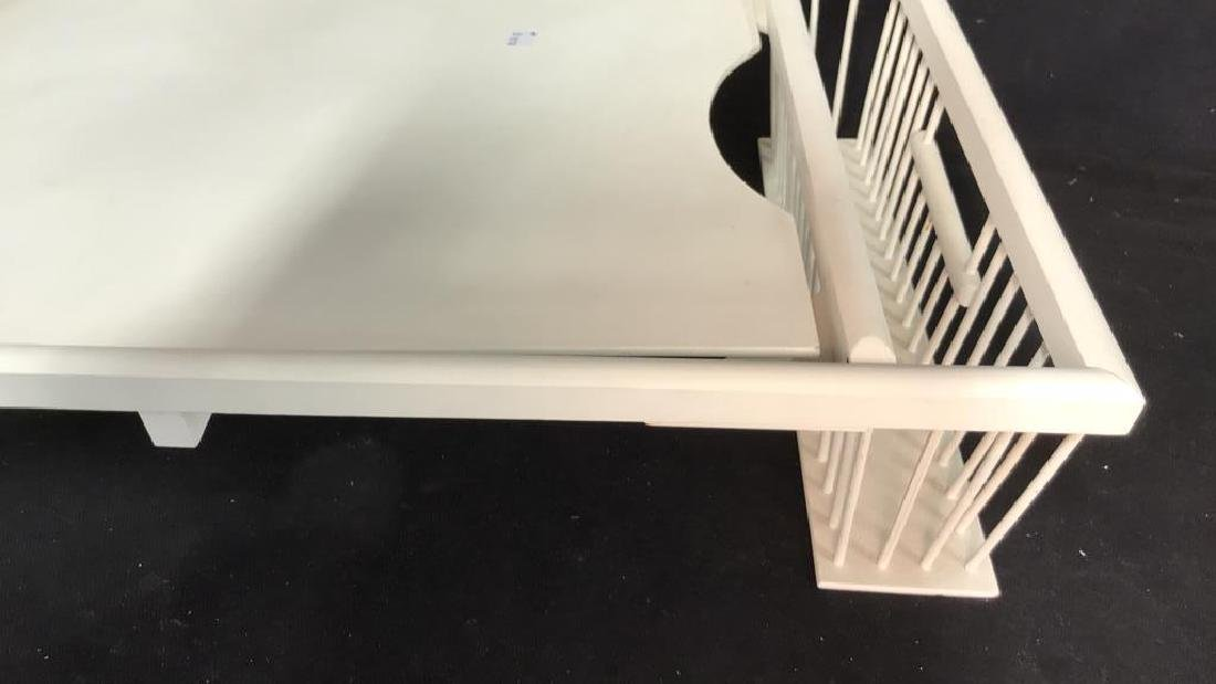 Vintage white painted Wood Bed Tray - 4