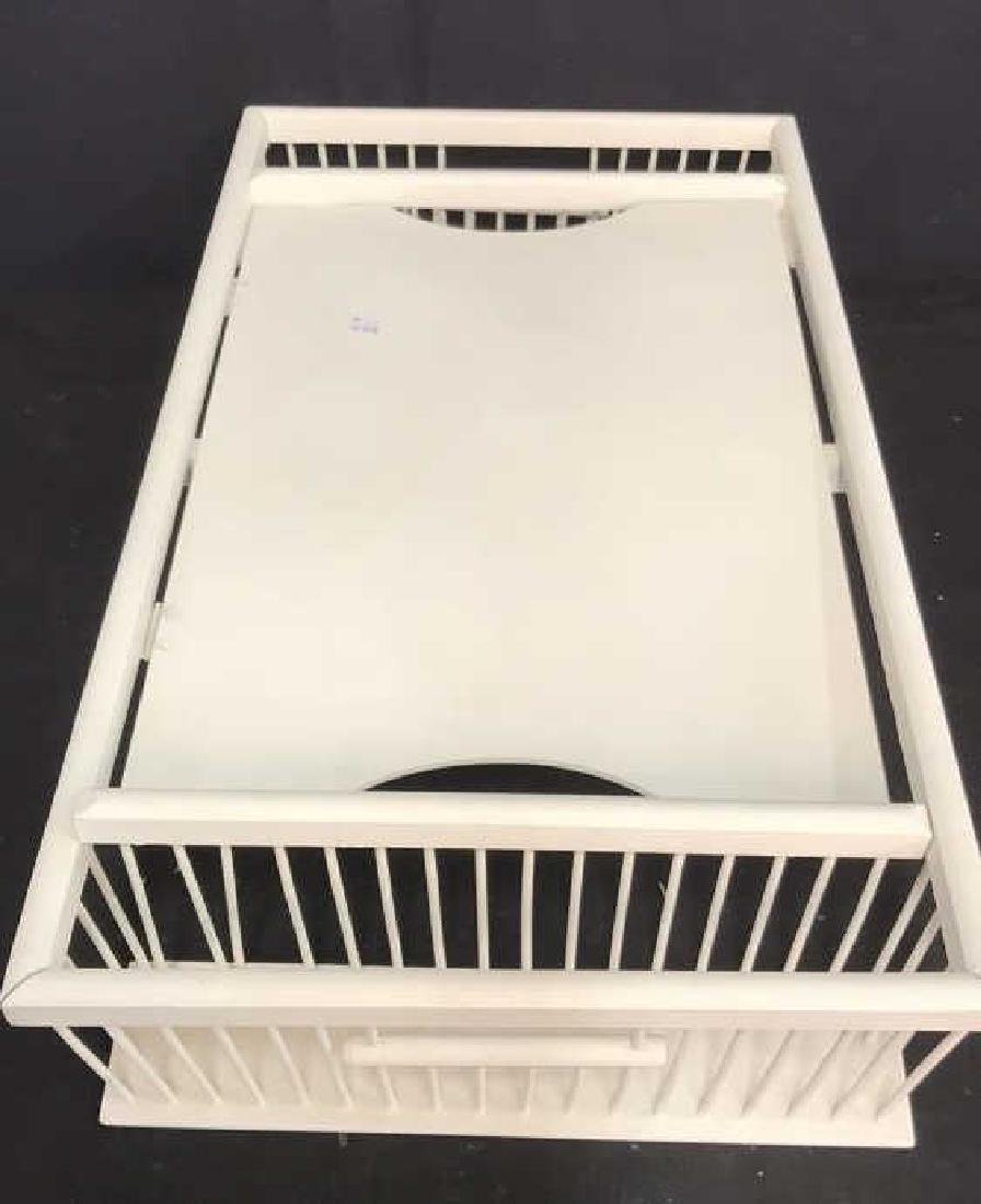 Vintage white painted Wood Bed Tray - 6