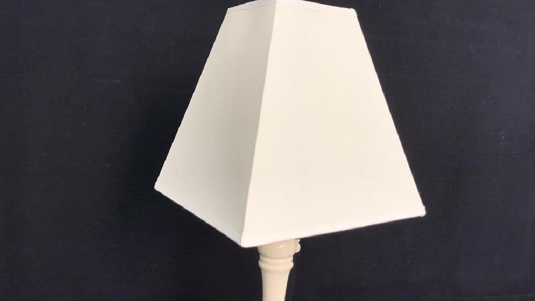 White Wood Lamp w Shade - 5