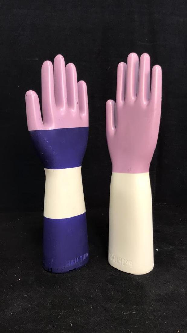 Pair Signed Ceramic Hand Sculptures - 10