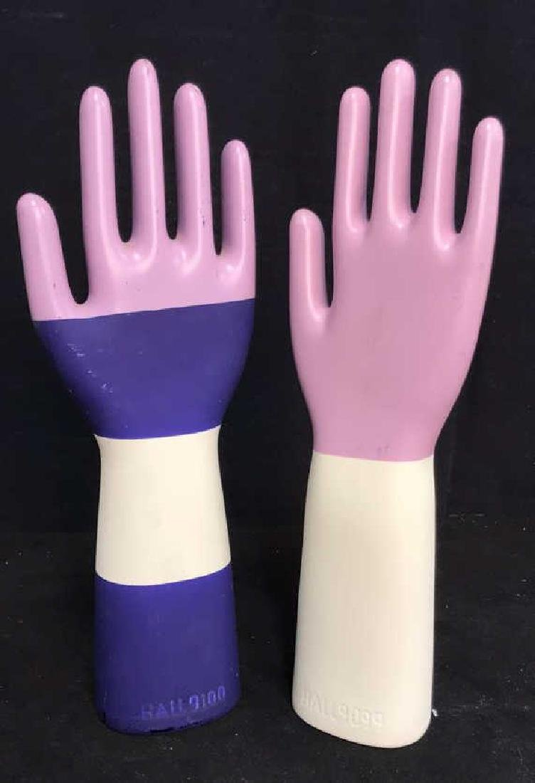Pair Signed Ceramic Hand Sculptures