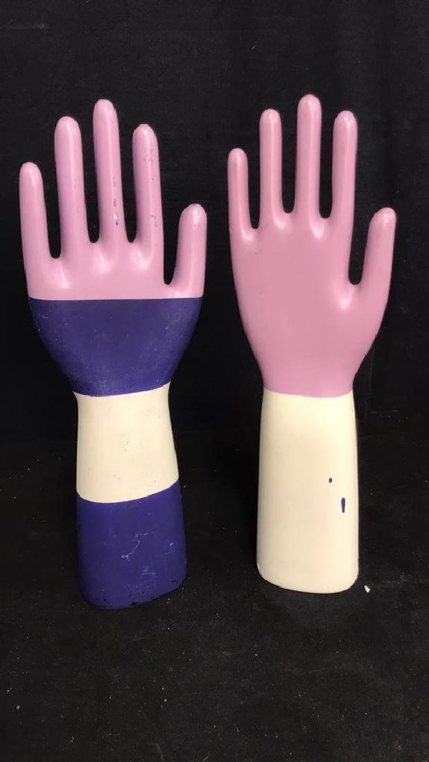Pair Signed Ceramic Hand Sculptures - 2