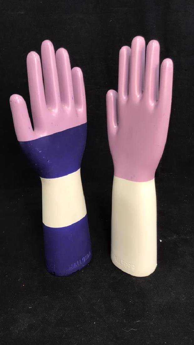 Pair Signed Ceramic Hand Sculptures - 9