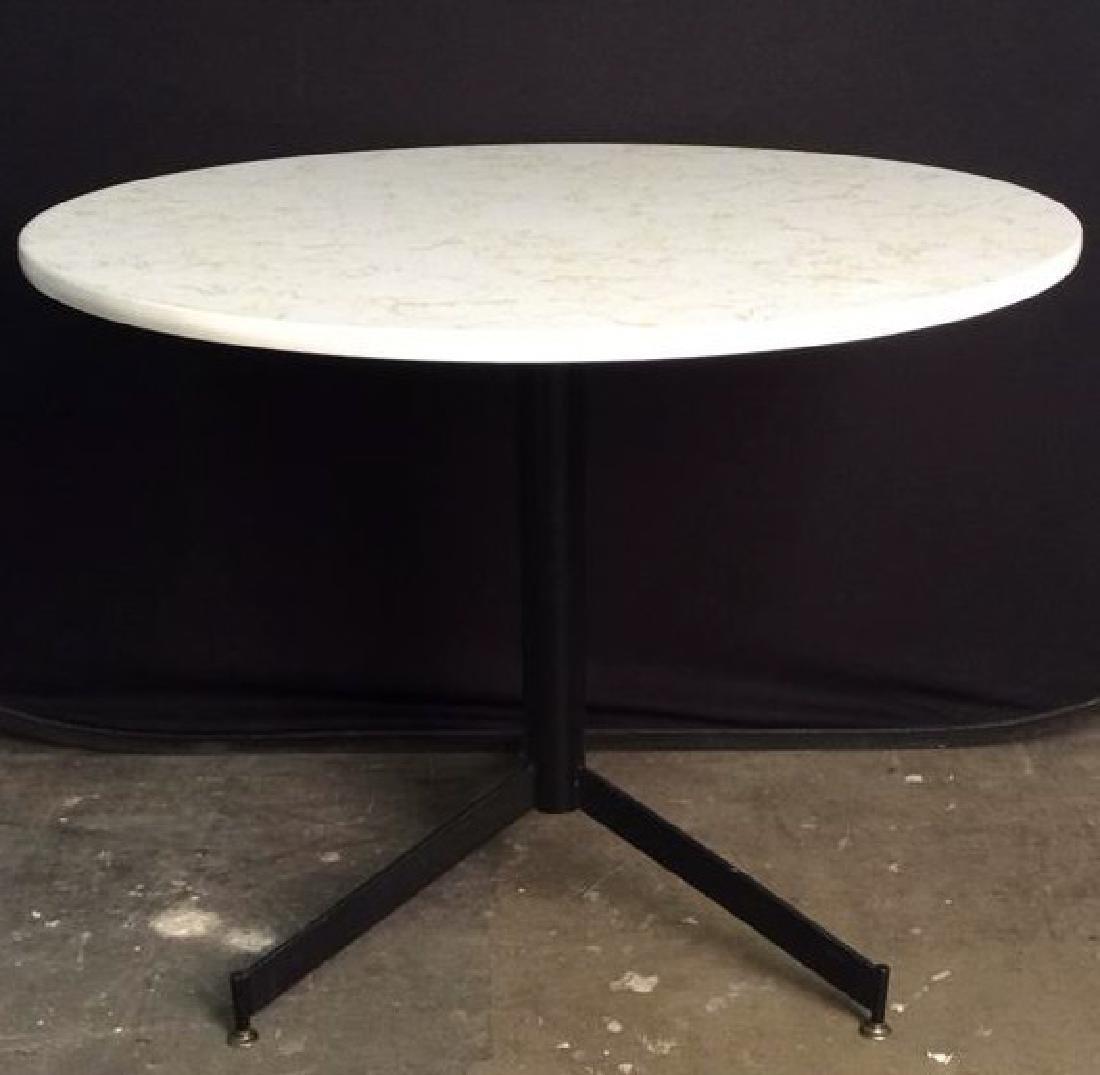 Round Top Wood & Metal Pedestal Table