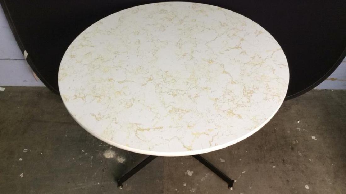 Round Top Wood & Metal Pedestal Table - 3