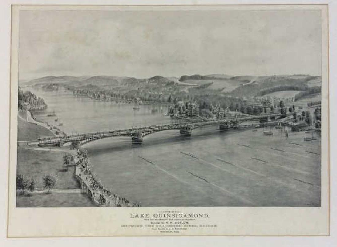 Antique Print Illustration Lake Quinsigamond