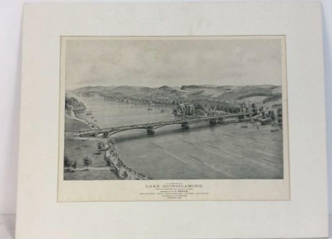 Antique Print Illustration Lake Quinsigamond - 2