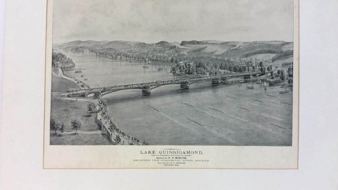 Antique Print Illustration Lake Quinsigamond - 3