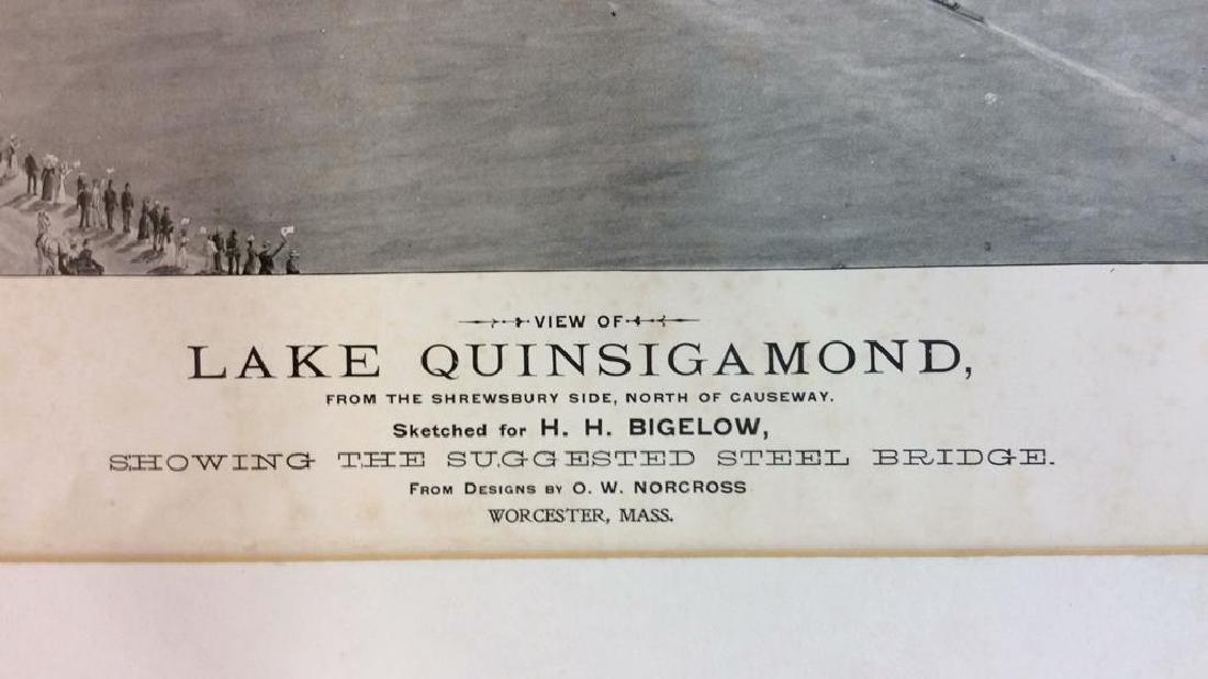 Antique Print Illustration Lake Quinsigamond - 4