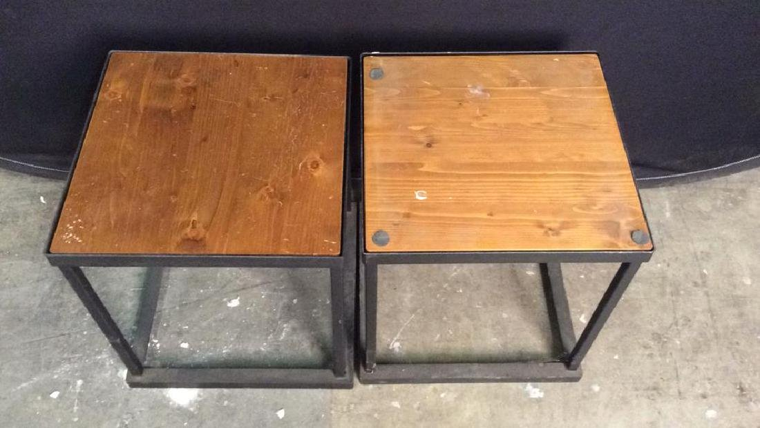 Lot 2 Wooden & Metal Nesting Tables - 2