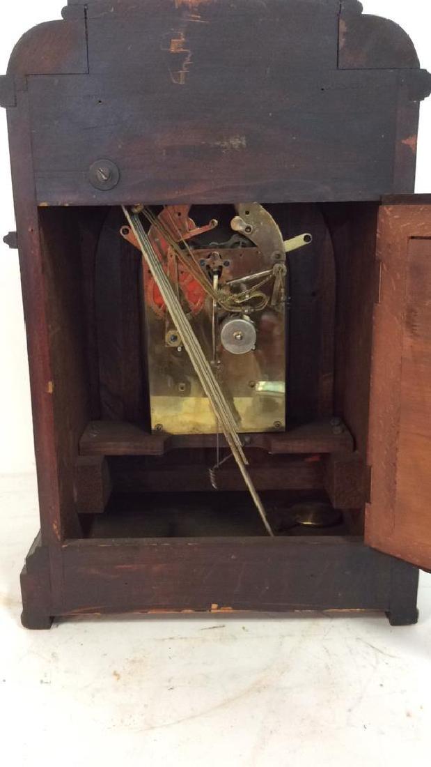 Vintage Wood Inlaid Mantle Clock - 10