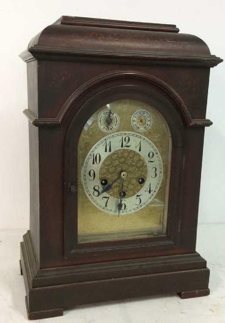 Vintage Wood Inlaid Mantle Clock
