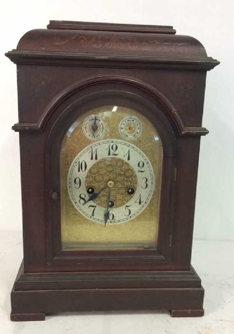 Vintage Wood Inlaid Mantle Clock - 2