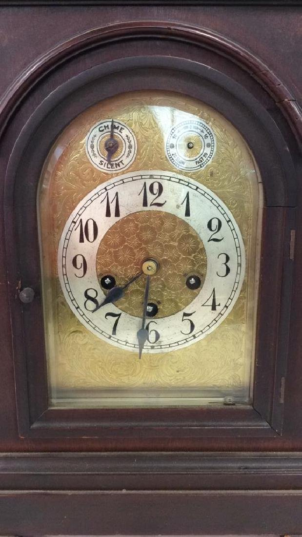 Vintage Wood Inlaid Mantle Clock - 3