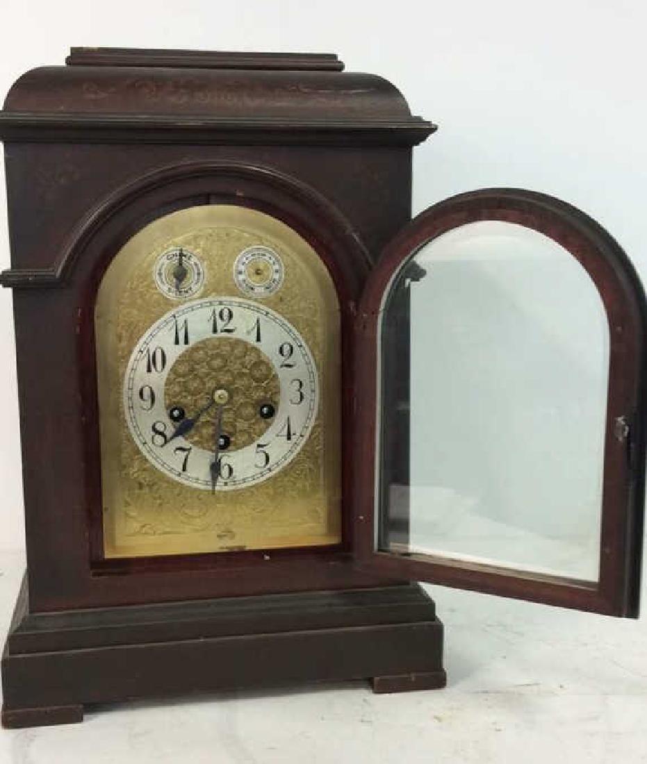 Vintage Wood Inlaid Mantle Clock - 4