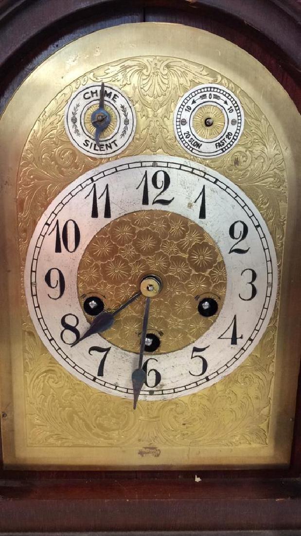 Vintage Wood Inlaid Mantle Clock - 5