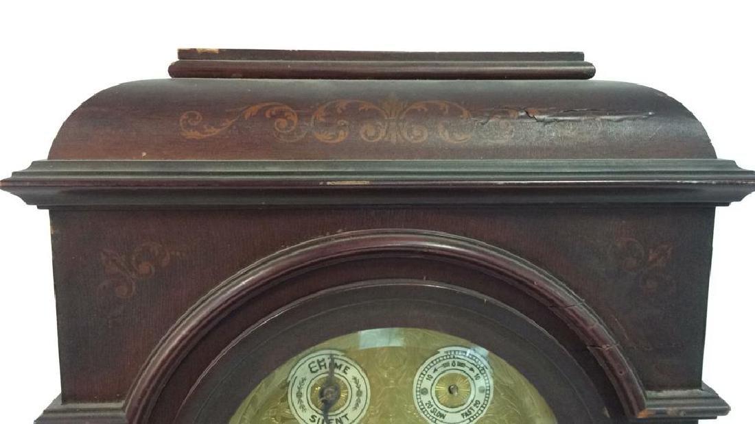 Vintage Wood Inlaid Mantle Clock - 8