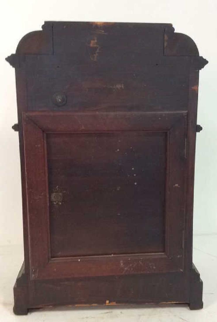 Vintage Wood Inlaid Mantle Clock - 9