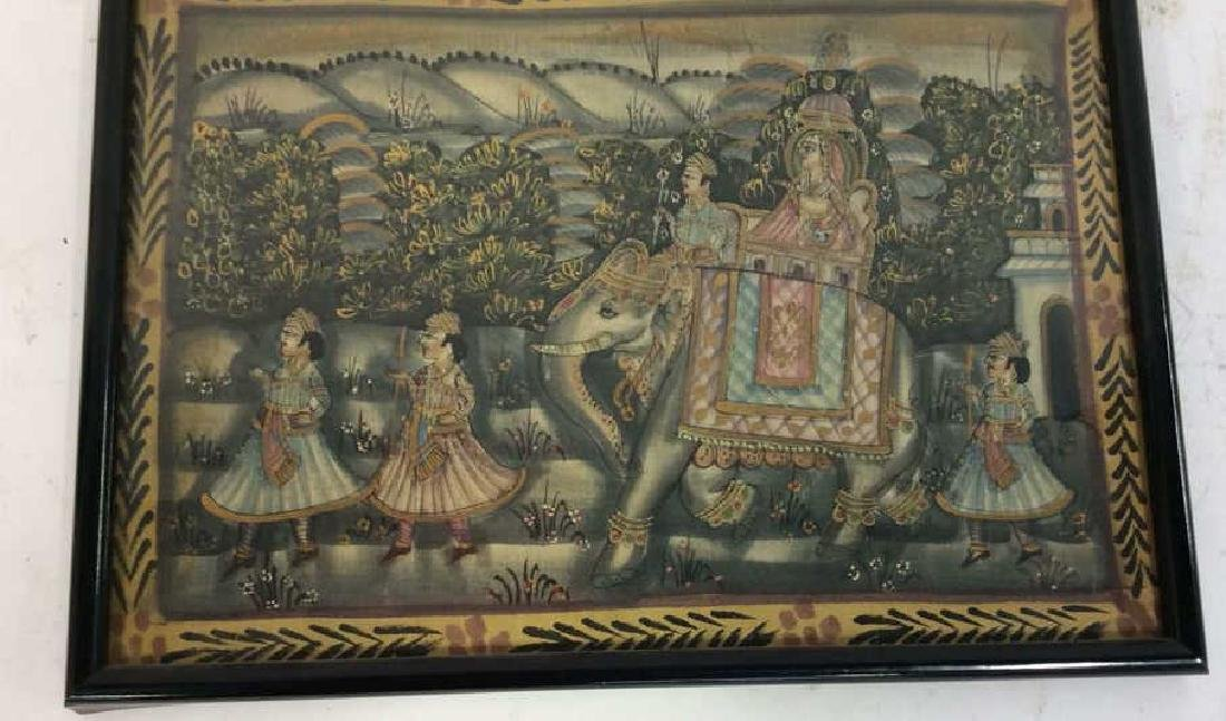 Mughal Painting on Fabric Framed