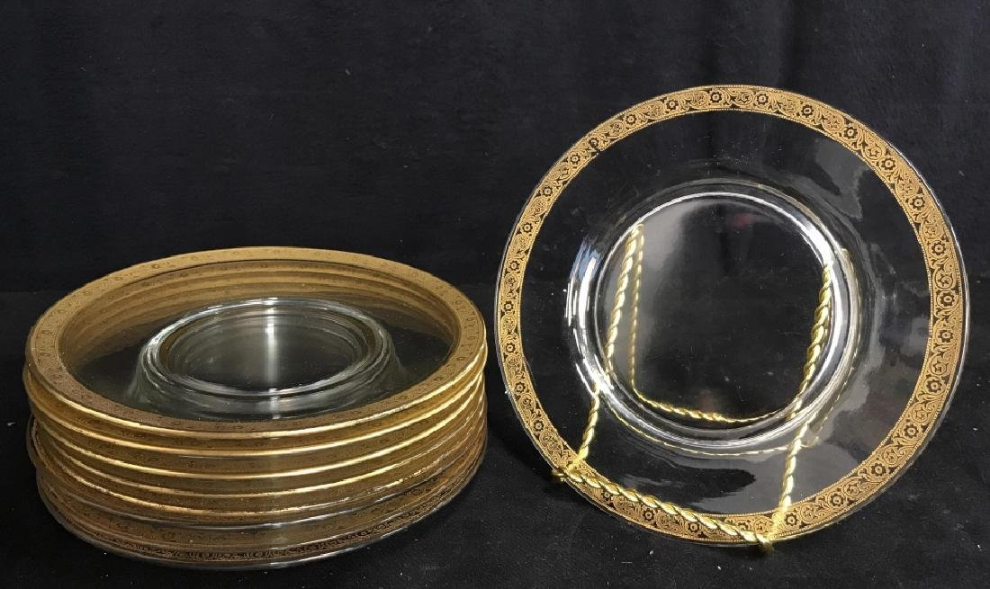Set 9 Clear Glass Plates W Gold Toned Floral Trim
