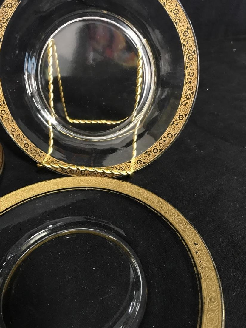 Set 9 Clear Glass Plates W Gold Toned Floral Trim - 2