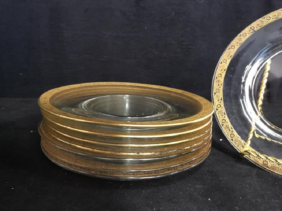 Set 9 Clear Glass Plates W Gold Toned Floral Trim - 4