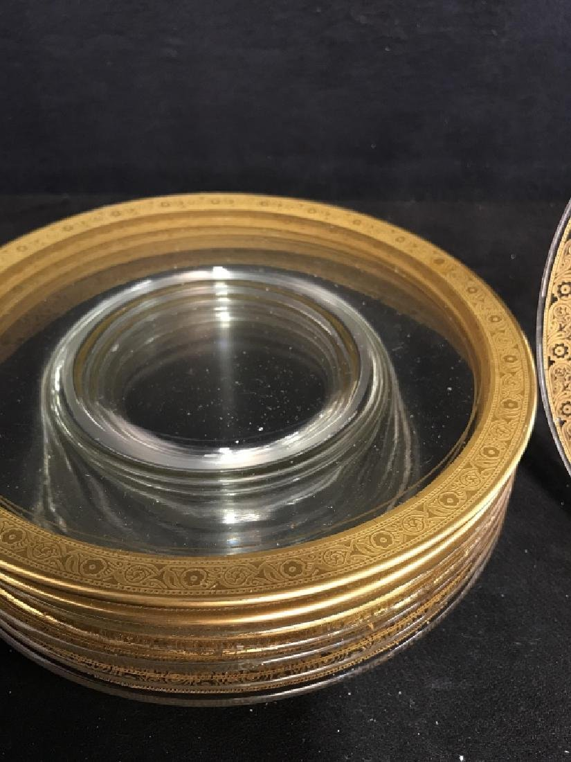 Set 9 Clear Glass Plates W Gold Toned Floral Trim - 5