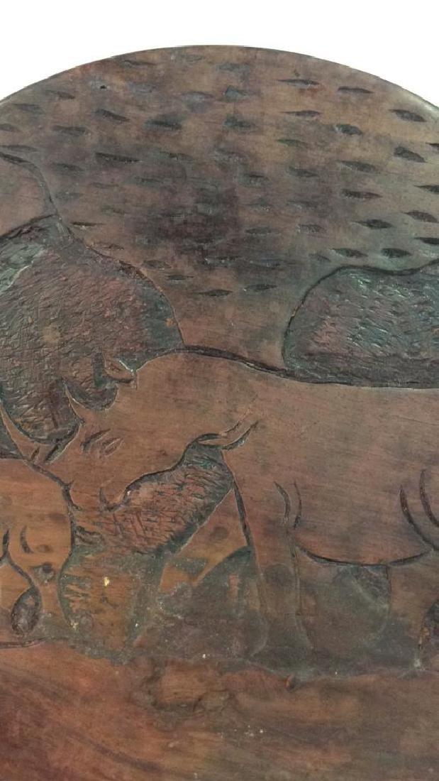 Hand Carved Elephant Design Wood Sculptural - 10