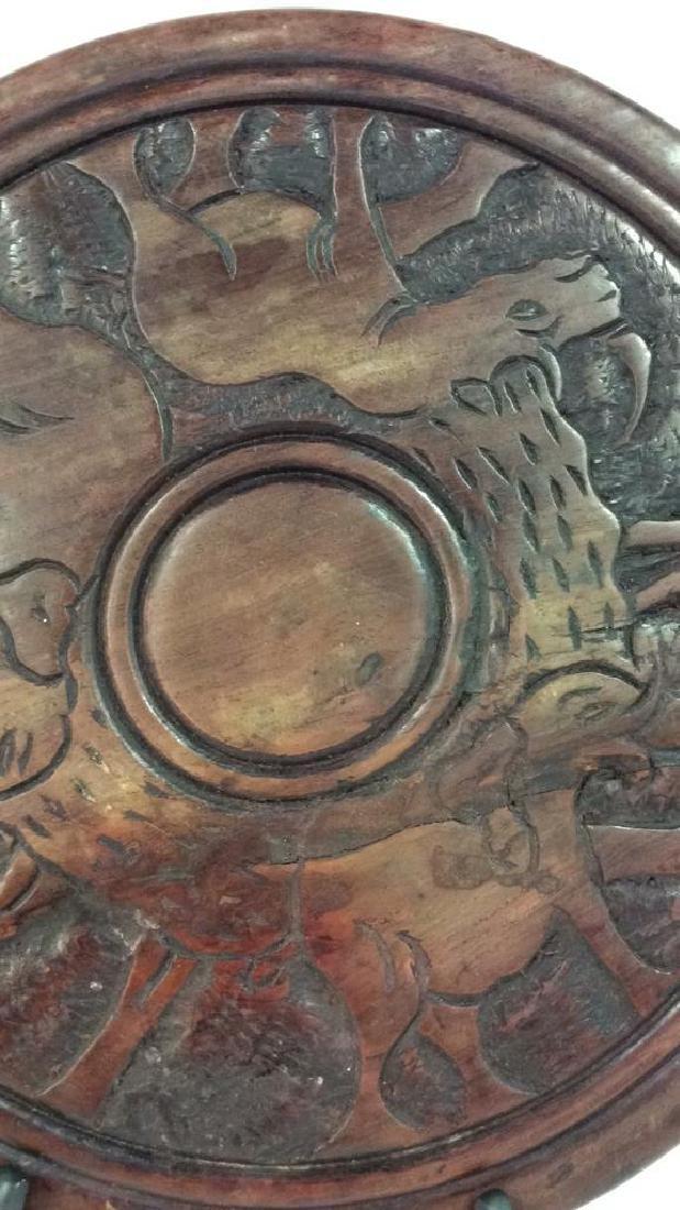 Hand Carved Elephant Design Wood Sculptural - 3