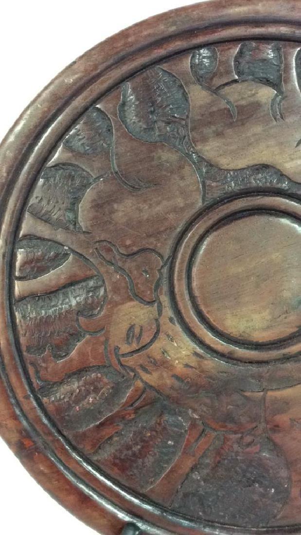 Hand Carved Elephant Design Wood Sculptural - 4