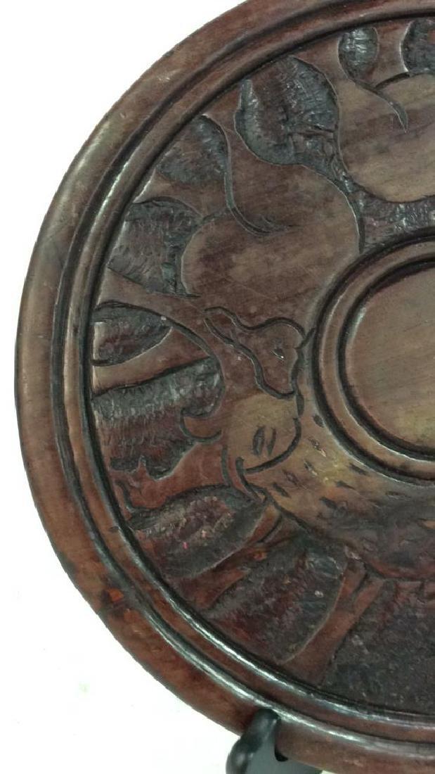 Hand Carved Elephant Design Wood Sculptural - 5