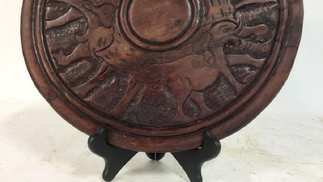 Hand Carved Elephant Design Wood Sculptural - 6