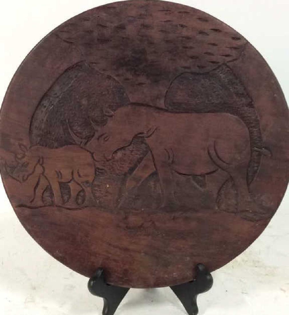 Hand Carved Elephant Design Wood Sculptural - 7