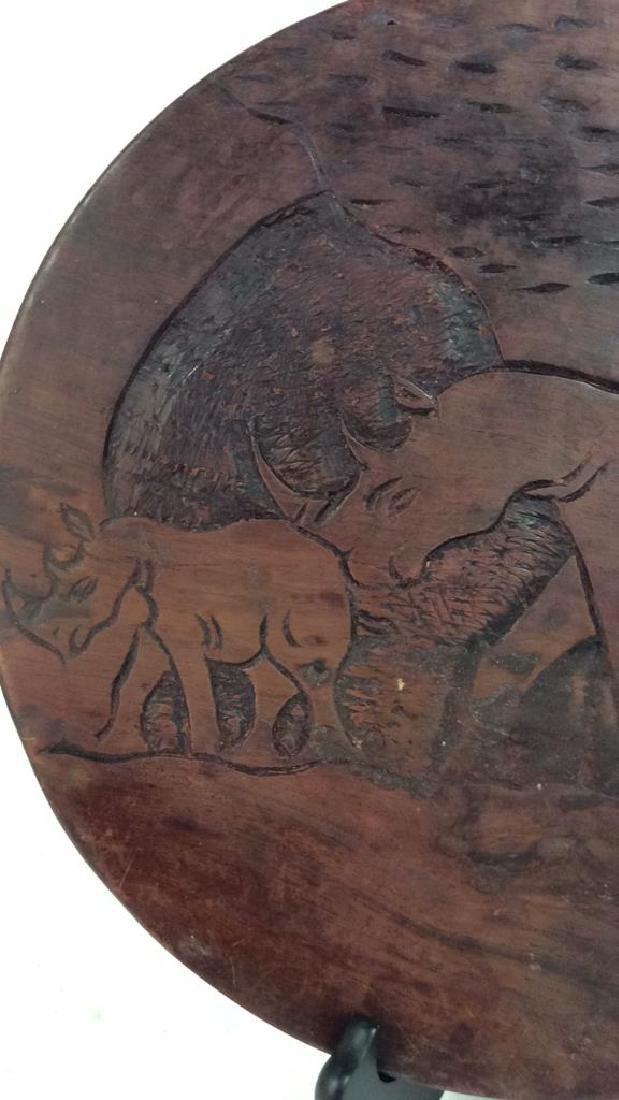 Hand Carved Elephant Design Wood Sculptural - 8