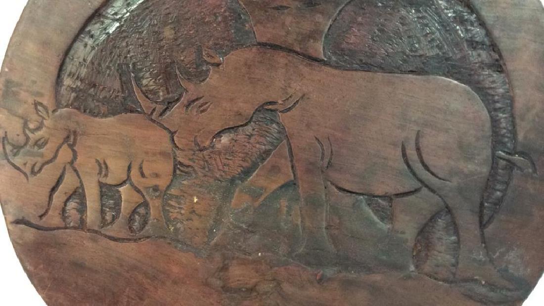 Hand Carved Elephant Design Wood Sculptural - 9