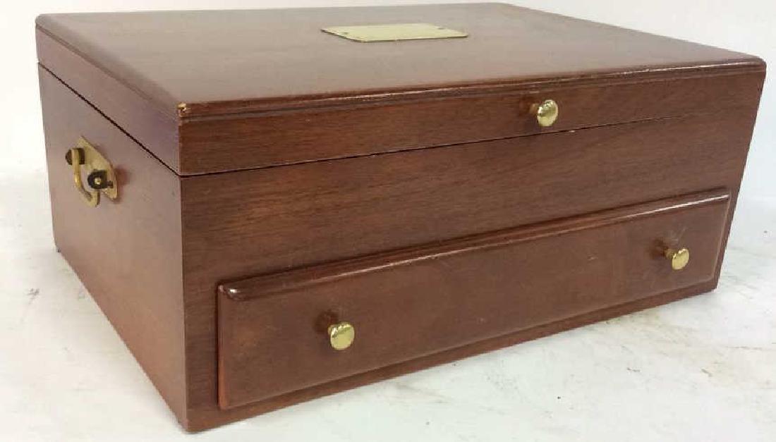 Bloomingdales Felt Lined Wood Silverware Chest