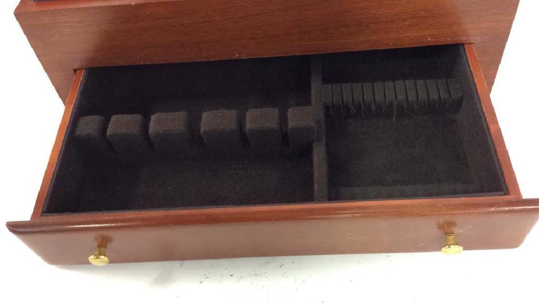 Bloomingdales Felt Lined Wood Silverware Chest - 7