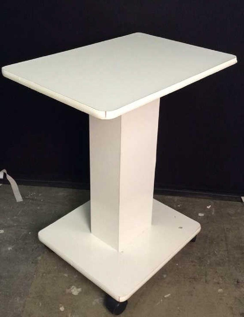 White Toned Pedestal Table W Wheels