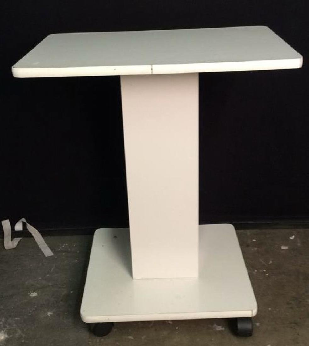 White Toned Pedestal Table W Wheels - 2