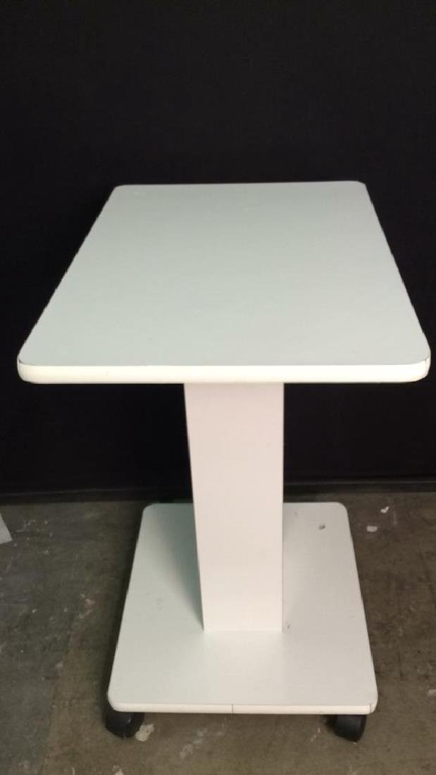 White Toned Pedestal Table W Wheels - 3