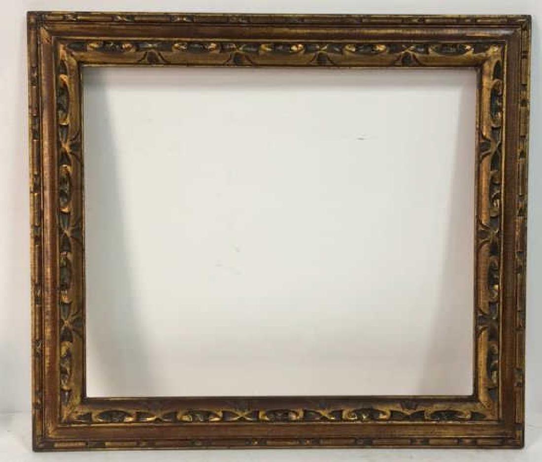 Hand Carved Painted Gold Leaf Art Frame - 2