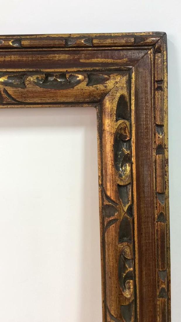 Hand Carved Painted Gold Leaf Art Frame - 4