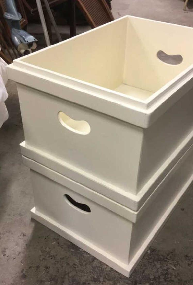 Pair Of Painted White Wooden Storage Boxes