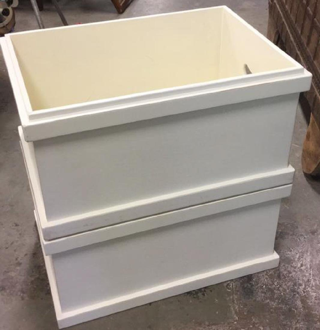 Pair Of Painted White Wooden Storage Boxes - 2