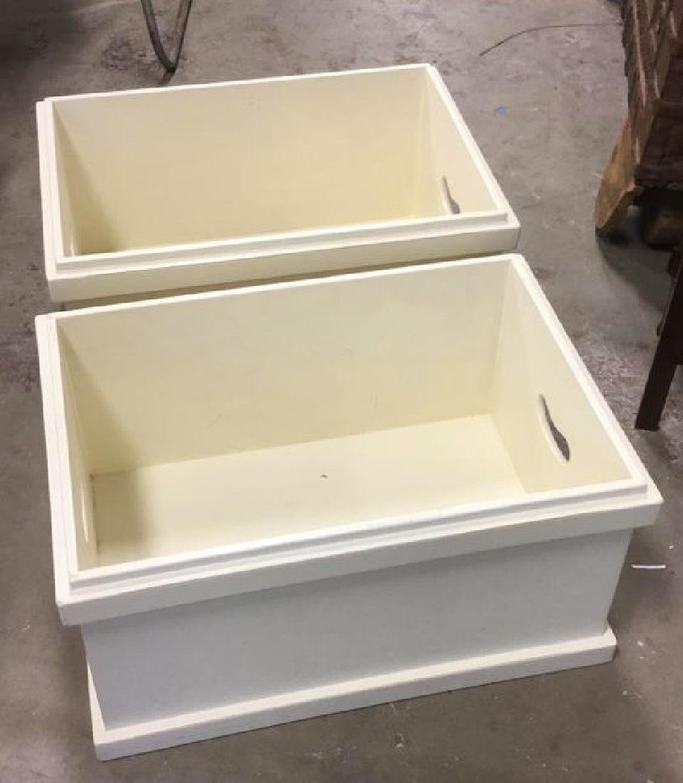 Pair Of Painted White Wooden Storage Boxes - 3