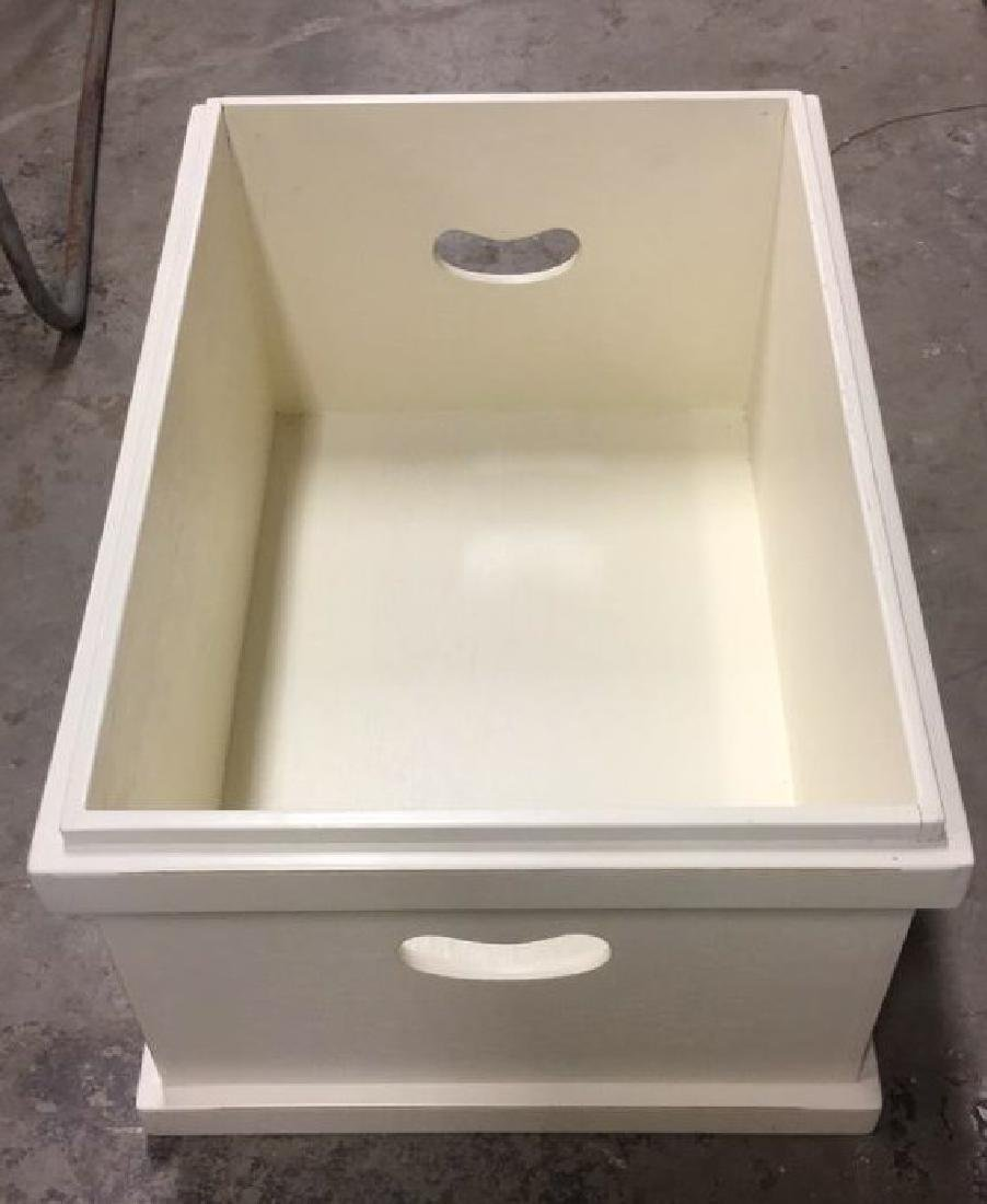 Pair Of Painted White Wooden Storage Boxes - 4